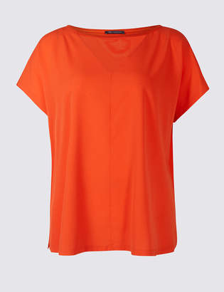 M&S Collection CURVE Woven Front Short Sleeve T-Shirt