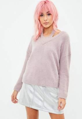 Missguided Mauve Halterneck Fluffy Crop Sweater