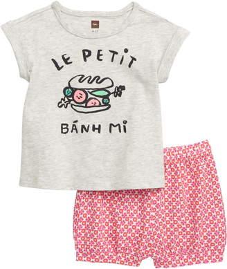 Tea Collection Bahn Mi Graphic T-Shirt & Bubble Shorts Set