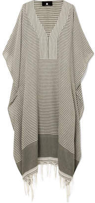 SU Paris - Jimba Fringed Striped Cotton-voile Kaftan - Gray green
