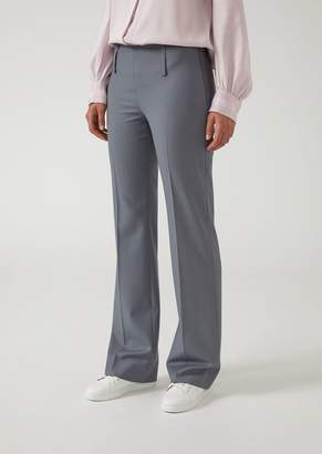Emporio Armani Stretch Wool Trousers With A Wide Leg Cuff