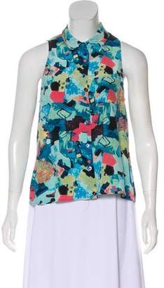 Equipment Abstract Print Sleeveless Blouse