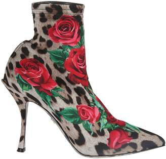 8bc73d7728b Dolce   Gabbana Leopard Rose Print Ankle Boots