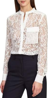 Reiss Betsey Sheer Lace Shirt