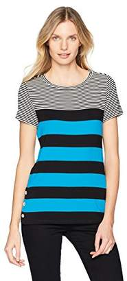 Calvin Klein Women's Short Sleeve Stripe Tee with Buttons