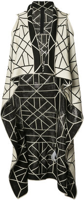 knitted long sleeveless wrap jacket