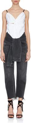 Alexander Wang Grey Tie-Waist Cropped Jeans