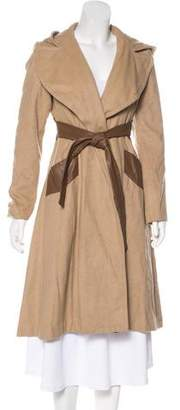 Mara Hoffman Wool Leather-Trimmed Coat