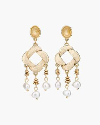 Gold-Tone and Faux-Pearl Chandelier Earrings