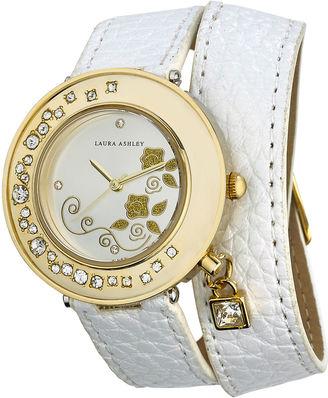 Laura Ashley Ladies White Stone Accent Colored Wrap Watch La31008Wt $345 thestylecure.com