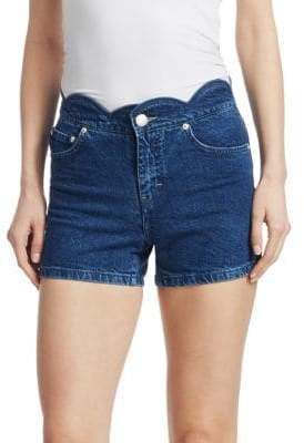 Maje Scalloped Hi-Rise Denim Shorts