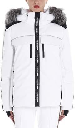 Fendi Fur Trimmed Hood Logo Down Jacket