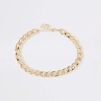River Island Gold tone chunky curb chain choker