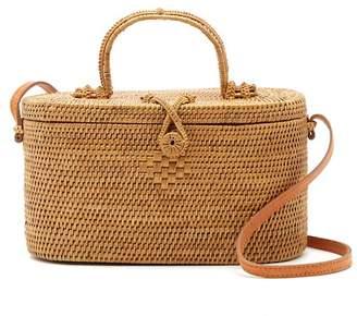Pink Haley Kriss Top Handle Oval Straw Basket Crossbody Bag
