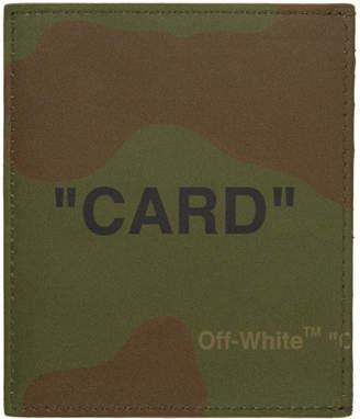 Off-White Multicolor Camo Quote Card Holder