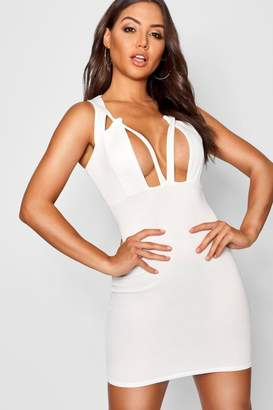 boohoo Plunge Front Cut Out Bodycon Mini Dress