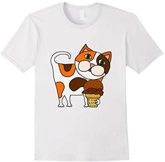 SmileteesPets Funny Calico Cat eating Ice Cream T-shirt
