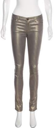 Monika Chiang Low-Rise Skinny Metallic Jeans