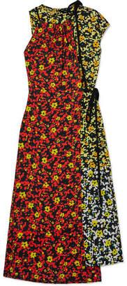 Proenza Schouler Asmmetric Floral-print Georgette Dress - Red