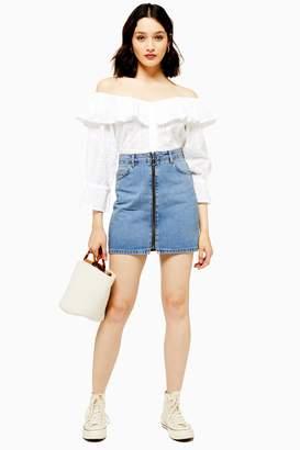 Topshop Womens Tall Zip Through High Waisted Denim Skirt - Mid Stone