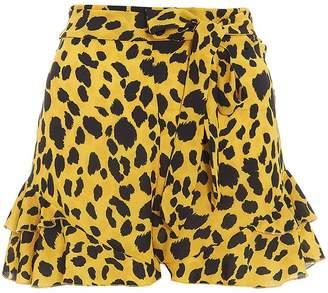 Quiz TOWIE Yellow & Black Leopard Print Shorts