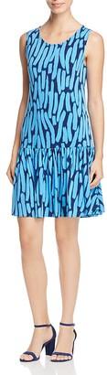 Leota Savvy Brush Stroke Print Ruffle Dress $138 thestylecure.com