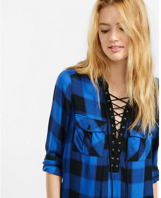 Express black and blue check lace-up shirt $59.90 thestylecure.com