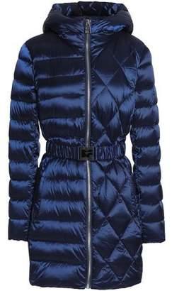 Diane von Furstenberg Belted Quilted Shell Hooded Coat