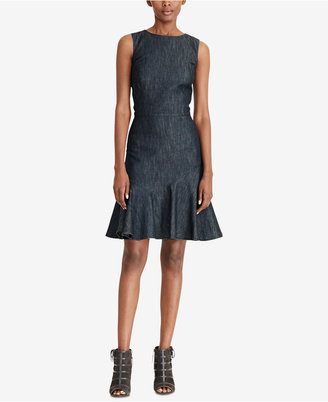 Lauren Ralph Lauren Ruffled Denim Dress $139 thestylecure.com