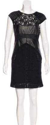 The Kooples Leather-Trimmed Lace Dress