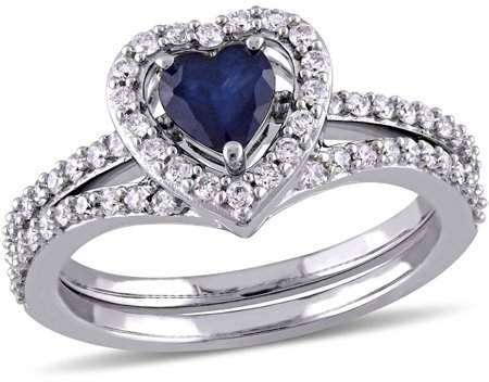 Tangelo 3/5 Carat T.G.W. Heart-Cut Diffused Sapphire and 1/2 Carat T.W. Diamond 10kt White Gold Heart Halo Bridal Set