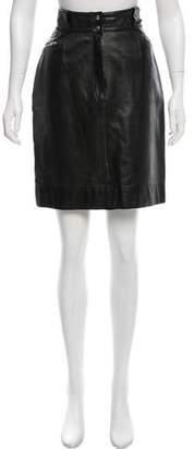 Alaia Leather Knee-Length Skirt