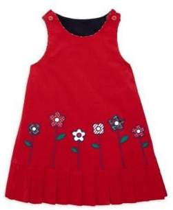 Florence Eiseman Reversible Corduroy Floral-Embroidered Pleated Hem Shift Dress
