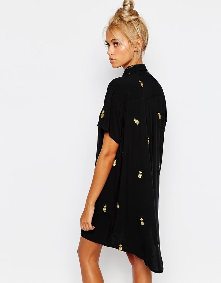 Lazy Oaf Oversized Longline Short Sleeved Shirt In Pineapple Print