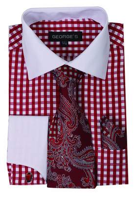 George's Small Check Fashion Shirt with Matching Tie, Handkerchief and French Cuffs 20-20 1/2-36-37