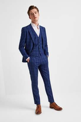 Next Mens Moss London Skinny Fit Blue Check Jacket