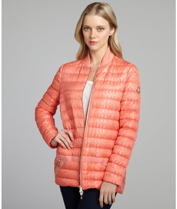 Moncler corallo quilted pliss down-filled jacket