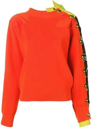 Sacai lace-trim knitted sweater