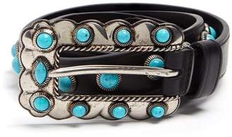 Prada Turquoise stone-embellished skinny leather belt
