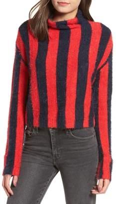 Blank NYC BLANKNYC Stripe Funnel Neck Eyelash Sweater