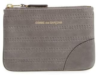Comme des Garcons Embossed Leather Top Zip Pouch Wallet