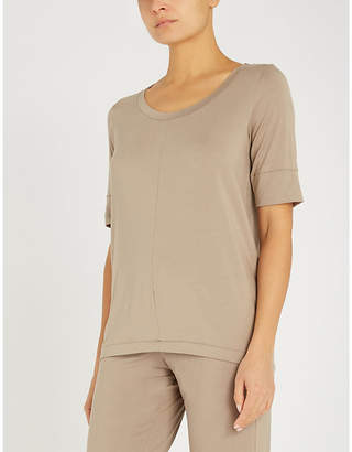 Hanro Ladies Taupe Grey Yoga Stretch-Jersey Short Sleeve Top