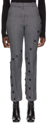 Rokh Grey and Black Houndstooth Slash Trousers