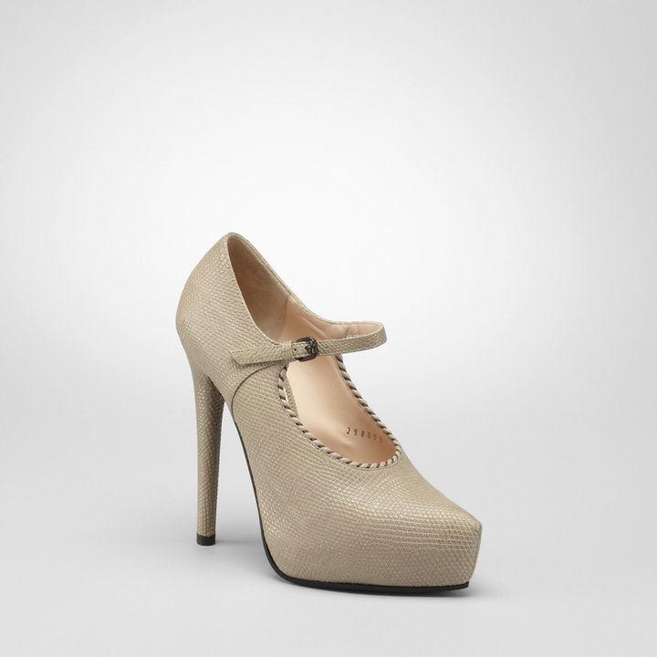 Bottega Veneta Nero antique lizard mary jane shoe