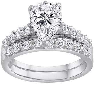 Swarovski Pure Perfection Certified Bridal Pure Perfection Certified Bridal Ring with Pear-Shaped Center Stone Made with Zirconia