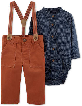 Carter's Baby Boys 2-Pc. Woven Cotton Bodysuit & Suspender Pants Set