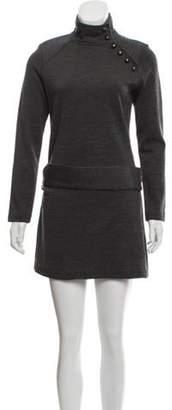 Milly Wool Long Sleeve Dress Grey Wool Long Sleeve Dress