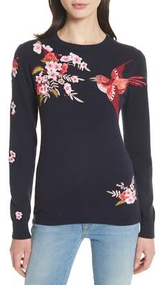 Ted Baker Peach Blossom Embroidered Sweater