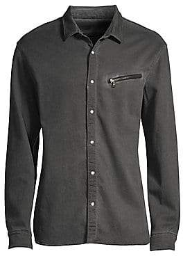 John Varvatos Men's Snap Front Zipper Shirt