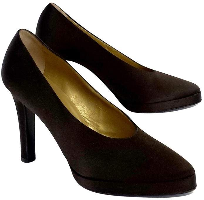 Yves Saint Laurent Brown Satin Round Pointed Toe Pumps